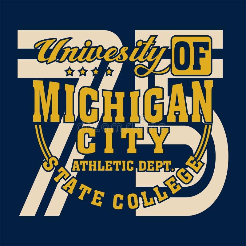 Alfabeto di progettazione e università del Michigan di numeri illustrazione di stock