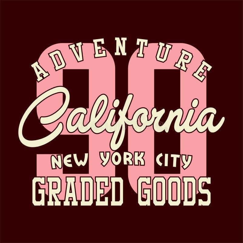 Alfabeto di progettazione ed avventura California di numeri illustrazione di stock