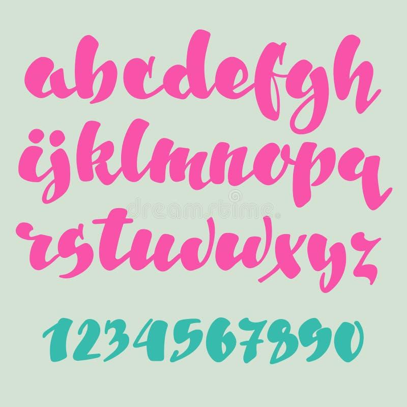 Alfabeto di stile della penna della spazzola royalty illustrazione gratis