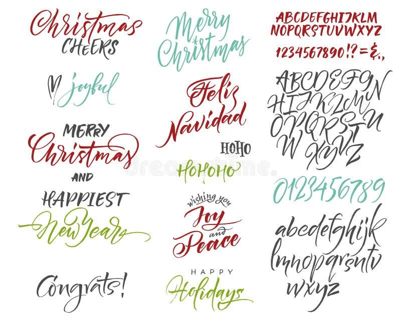 Alfabeto di vettore Congrats del nuovo anno e di Natale Saluti di stagione illustrazione di stock