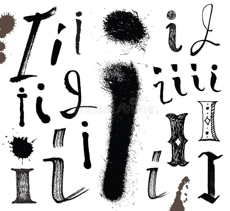 Lettere dell'alfabeto scritto con una spazzola. illustrazione vettoriale