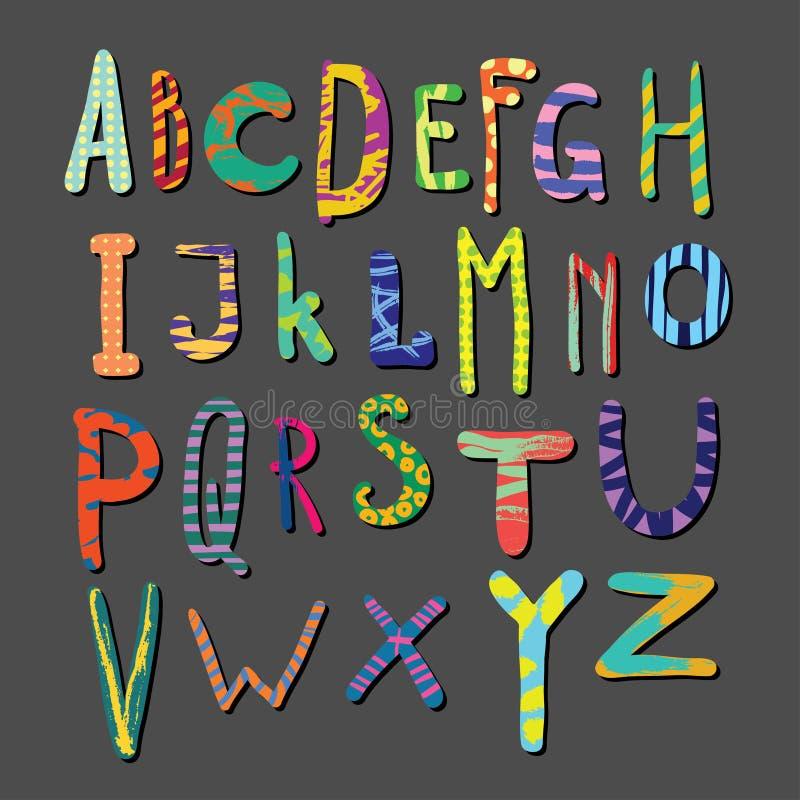 Alfabeto dibujado mano colorida del vector Letras con los modelos tipógrafos fuente stock de ilustración
