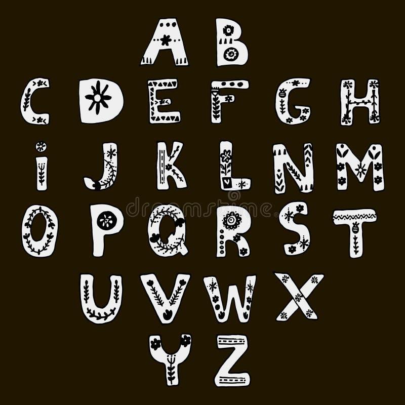 Alfabeto dibujado mano del vector en estilo escandinavo stock de ilustración