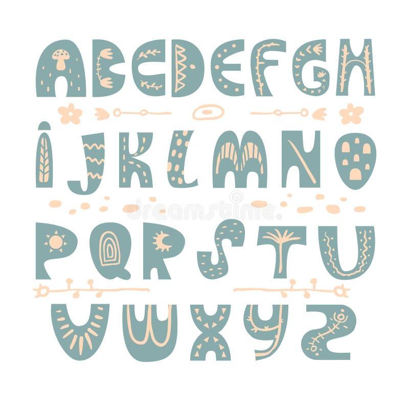 Alfabeto dibujado mano infantil abstracta Fuente escandinava del estilo Los niños creativos ABC para la decoración, invitación, c stock de ilustración