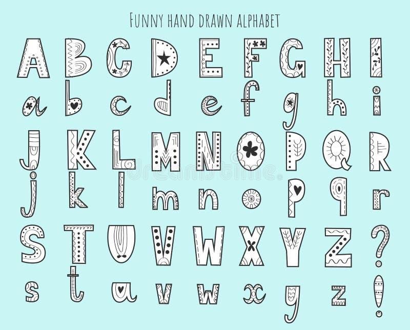 Alfabeto dibujado mano linda Letras del vector fijadas Estilo escandinavo con las decoraciones libre illustration