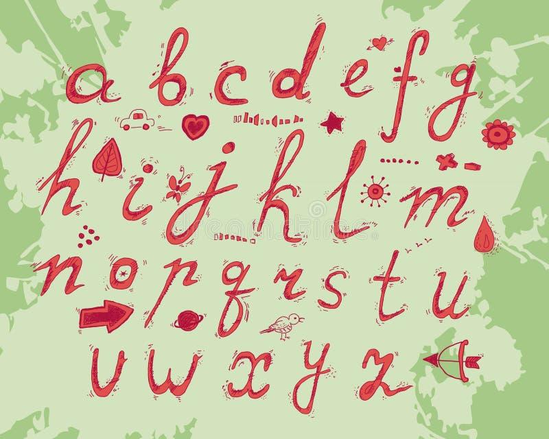 Alfabeto disegnato a mano illustrazione vettoriale