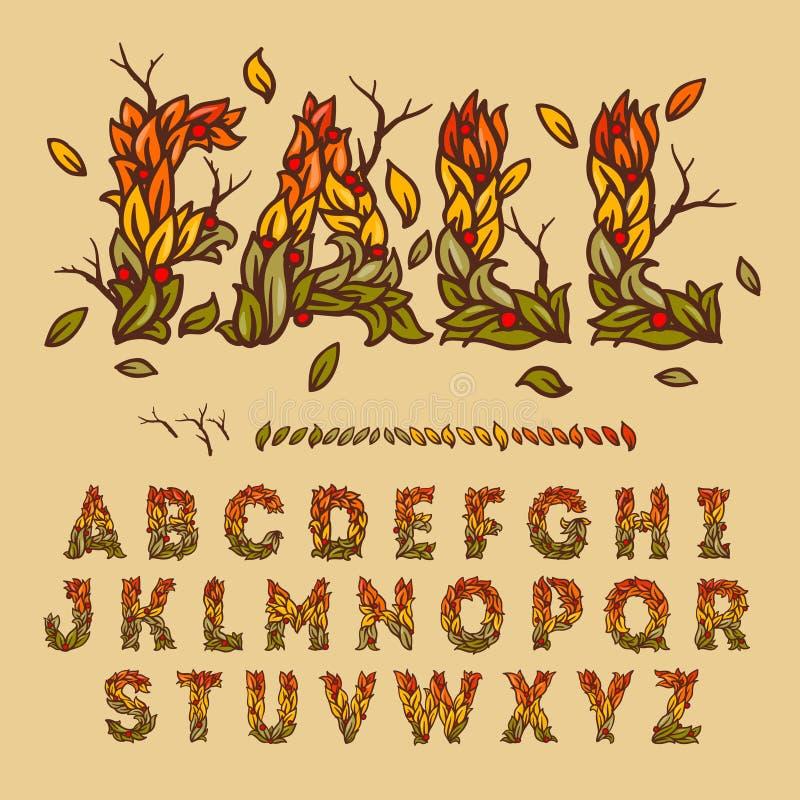 Alfabeto disegnato a mano di caduta fatto con le foglie royalty illustrazione gratis