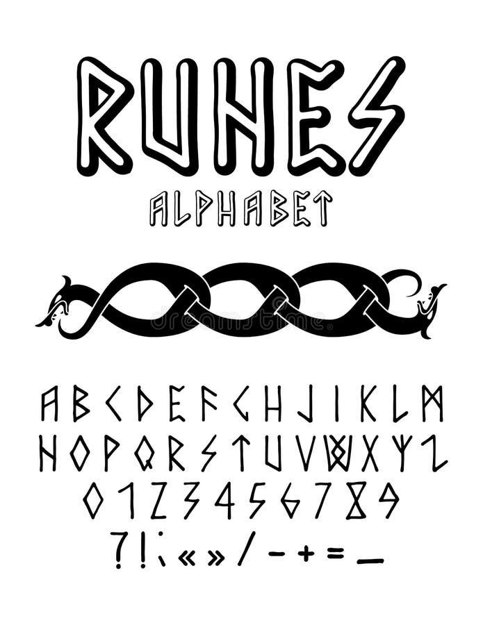 Alfabeto disegnato a mano di stile runico fotografia stock libera da diritti