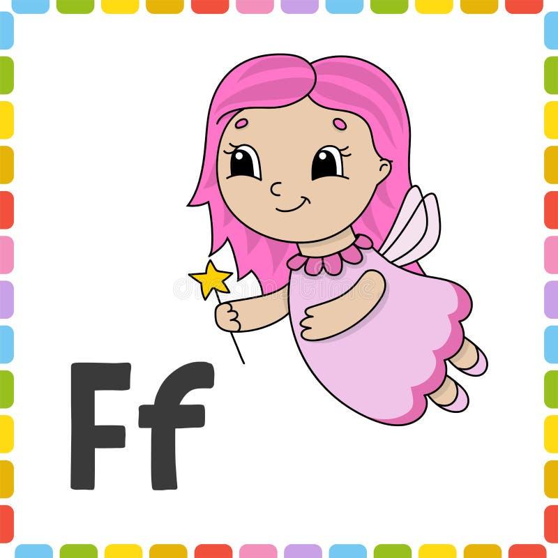 Alfabeto divertente Flash card di ABC Carattere sveglio del fumetto isolato su fondo bianco Per istruzione dei bambini Apprendime illustrazione vettoriale