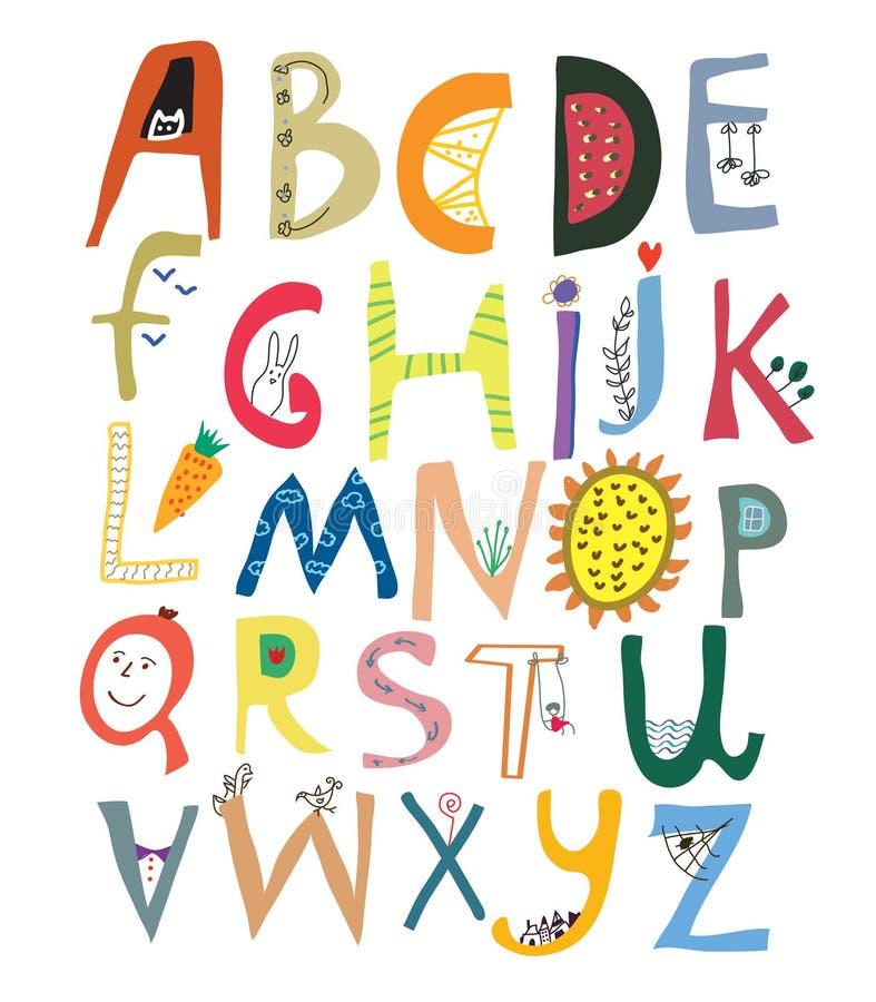 Alfabeto divertido para los niños con las caras, verduras, flores libre illustration
