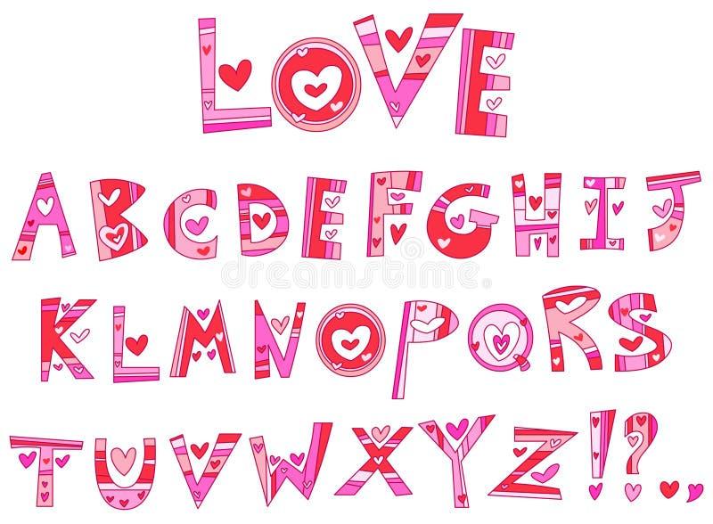 Alfabeto do amor ilustração stock