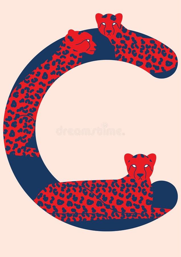 Alfabeto do animal do vetor Letras do vetor com animais Terceira letra do alfabeto ilustração royalty free