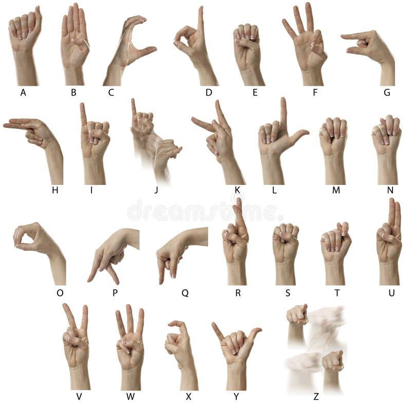 Alfabeto do ASL com etiquetas imagens de stock