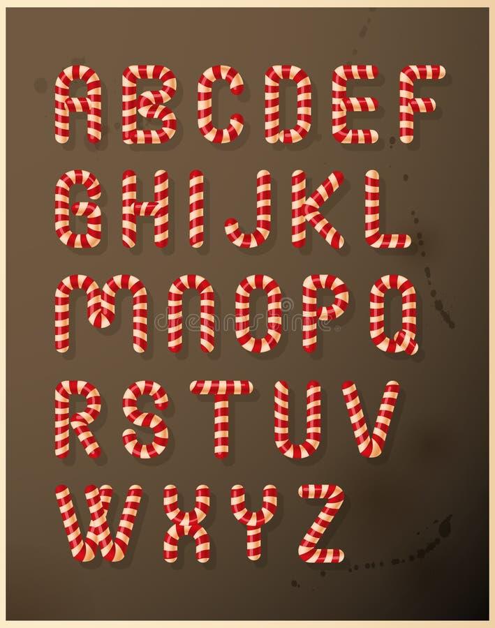 Alfabeto do bastão de doces ilustração royalty free