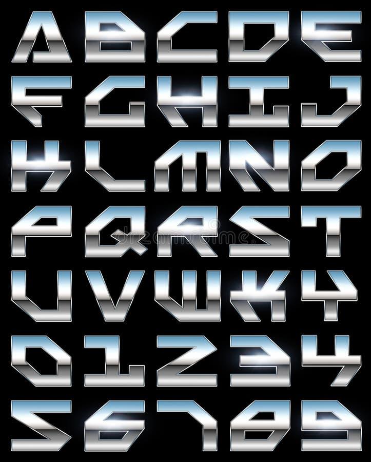 Alfabeto do cromo ilustração stock