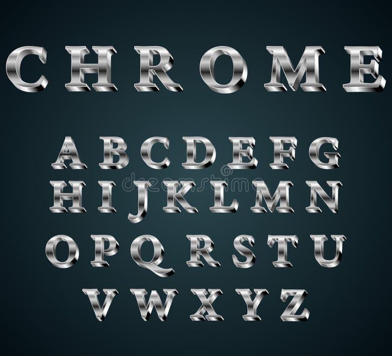 alfabeto do cromo 3D ilustração do vetor