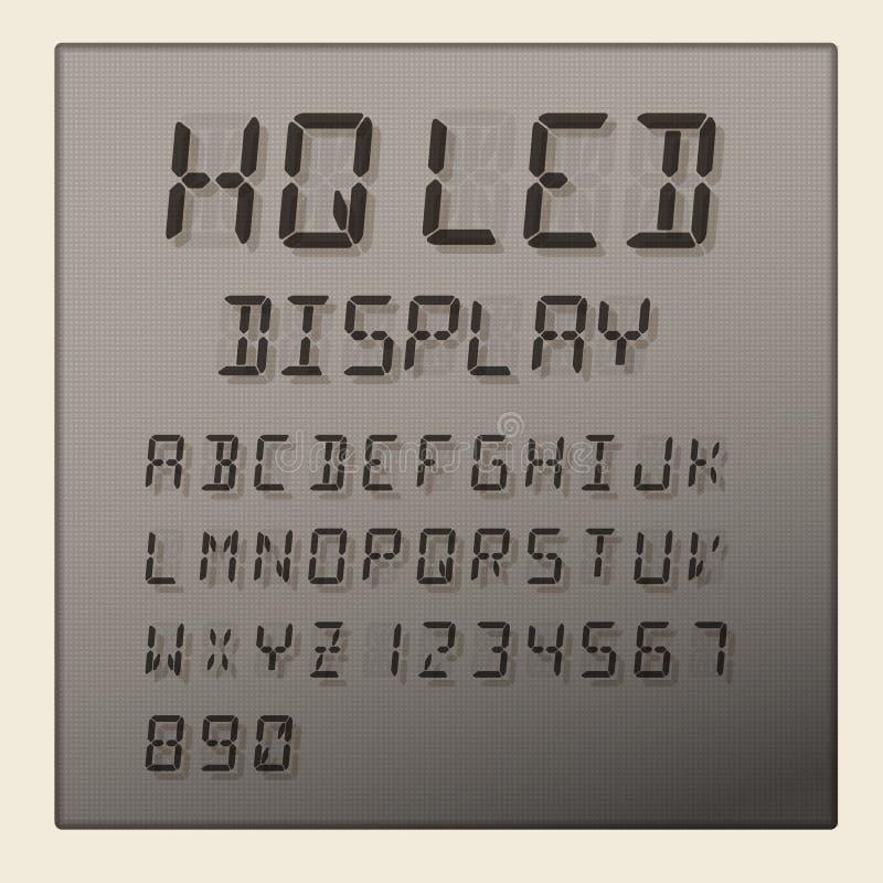 Alfabeto do diodo emissor de luz e exposição digitais dos números ilustração do vetor