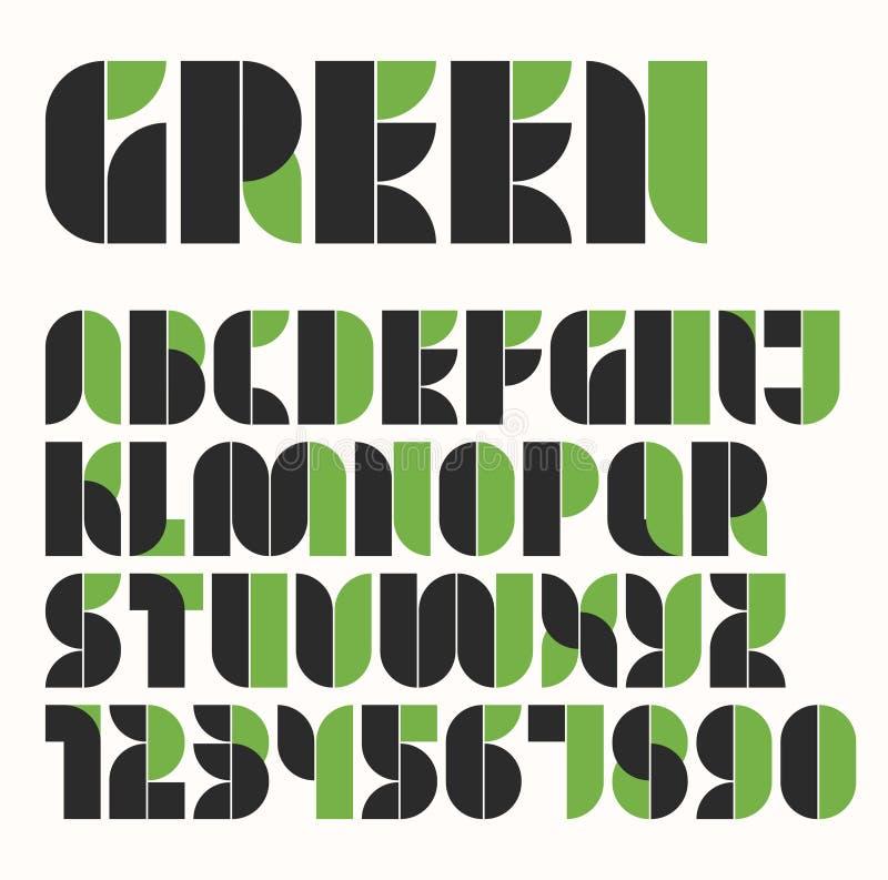 Alfabeto do eco modular e número verdes e pretos imagens de stock