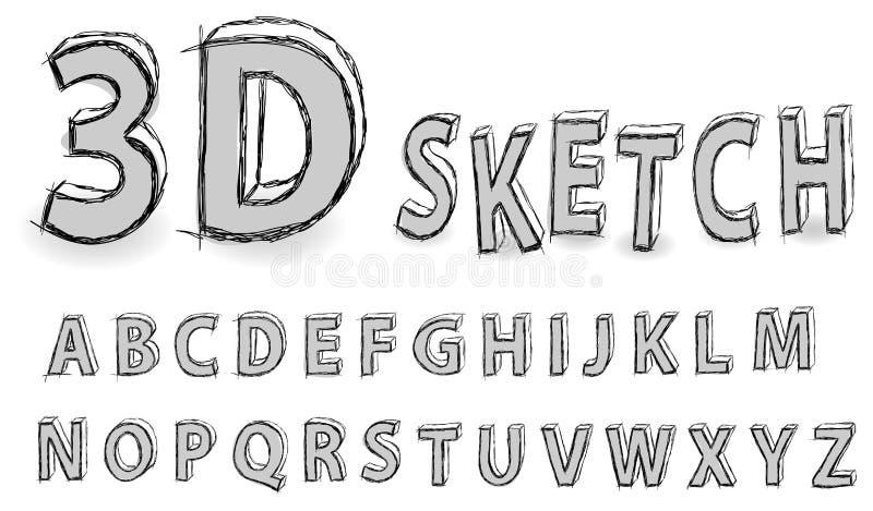 Alfabeto do esboço ilustração royalty free