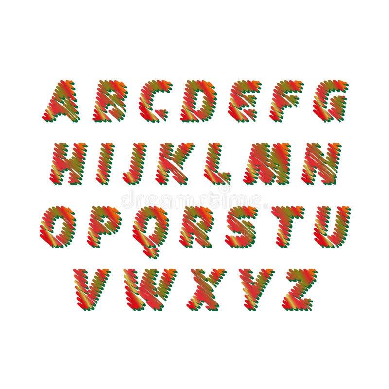 Alfabeto do esboço - as letras diferentes das cores são feitas como um garrancho Vector a coleção do conceito das fontes colorida ilustração royalty free
