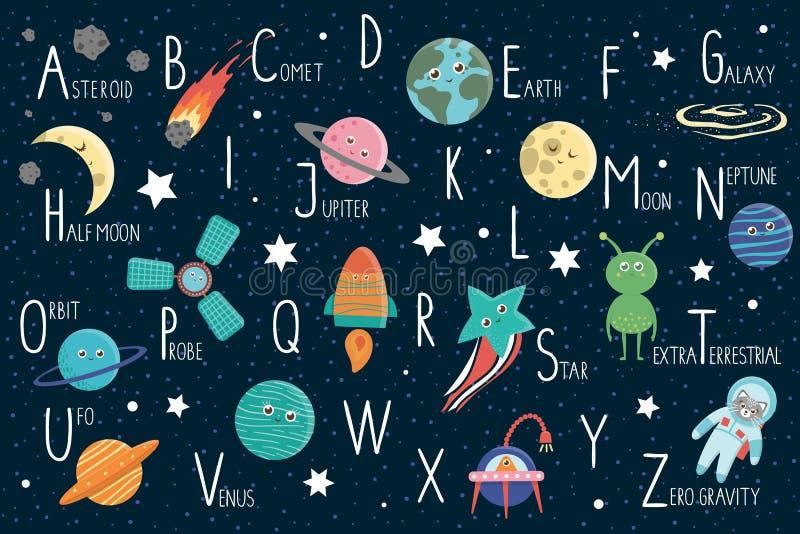 Alfabeto do espaço para crianças ilustração stock