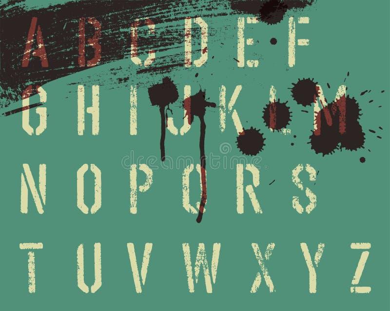 Alfabeto do estêncil de Grunge com gotas e raias ilustração do vetor