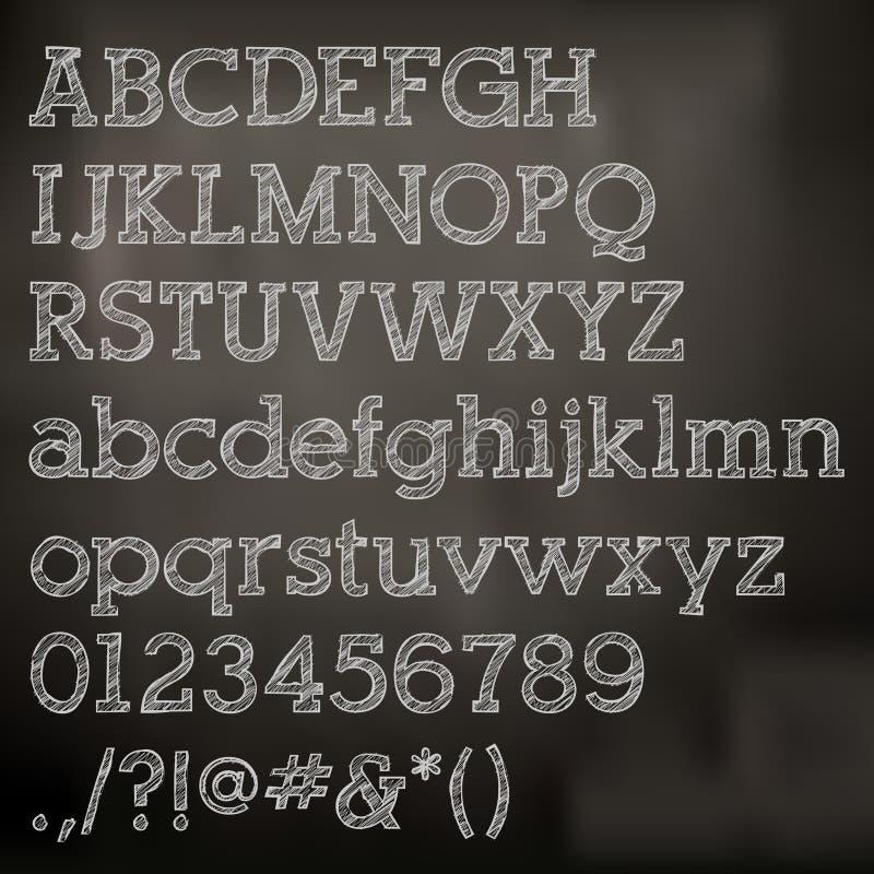 Alfabeto do giz do vetor no quadro-negro ilustração royalty free