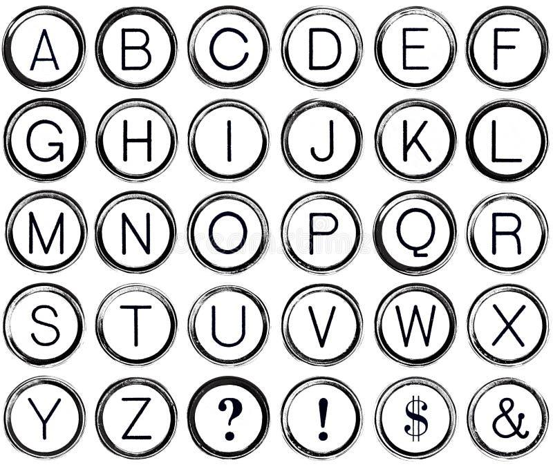 Alfabeto do Grunge das chaves da máquina de escrever do vintage ilustração do vetor