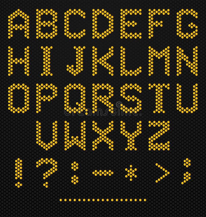 Alfabeto do hexágono ilustração do vetor