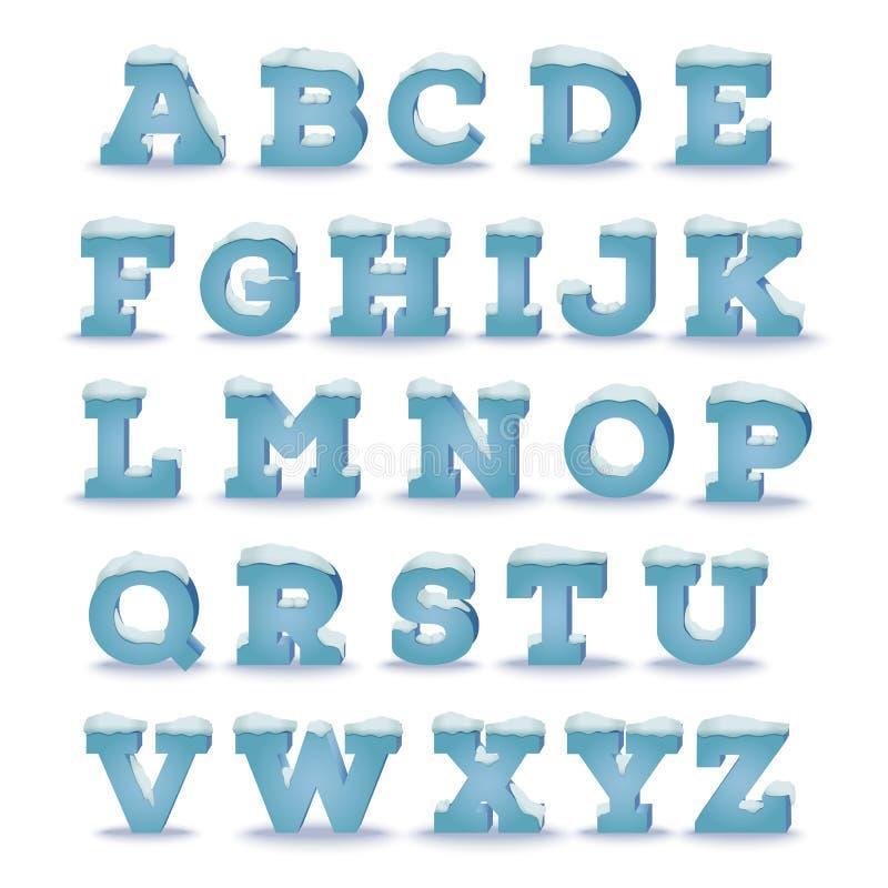 Alfabeto do inverno com efeito do tampão da neve ilustração royalty free