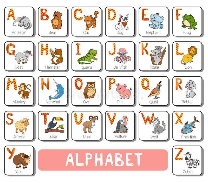 Alfabeto do jardim zoológico da cor do vetor Cartão quadrado com animais ilustração stock
