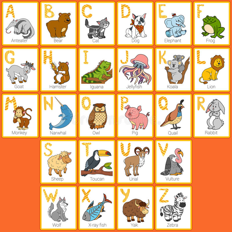 Alfabeto do jardim zoológico da cor do vetor com animais bonitos ilustração do vetor