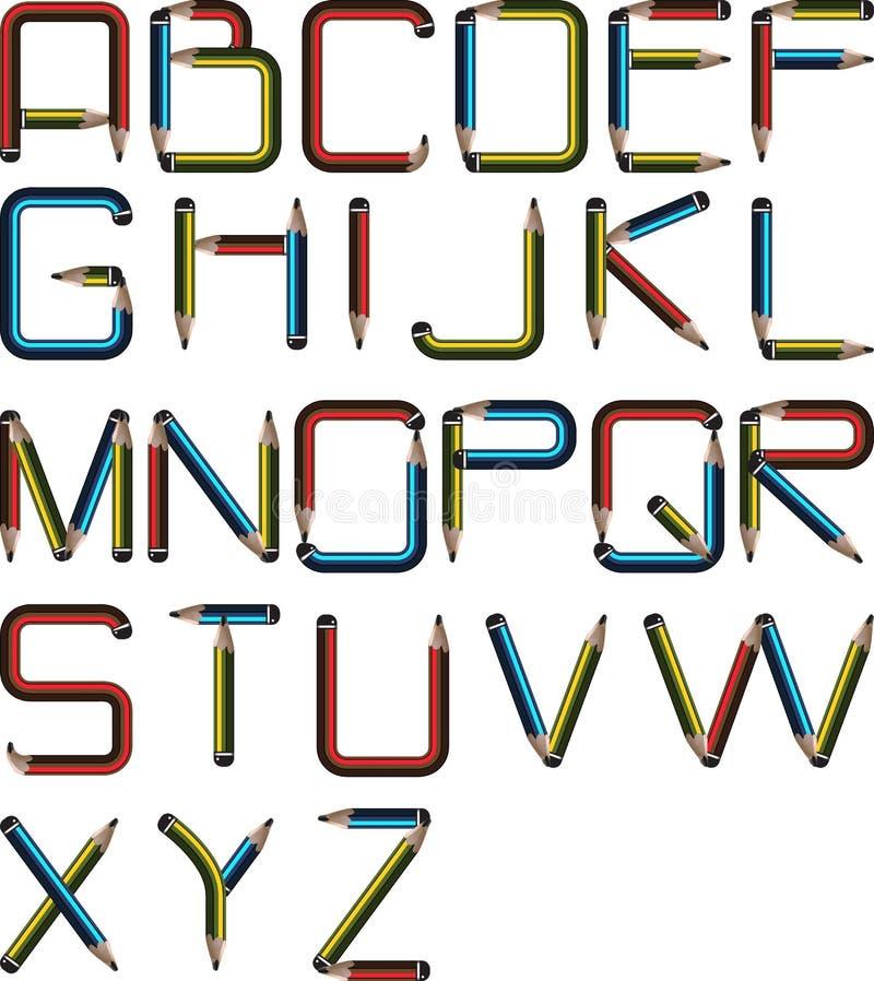 Alfabeto do lápis ilustração do vetor