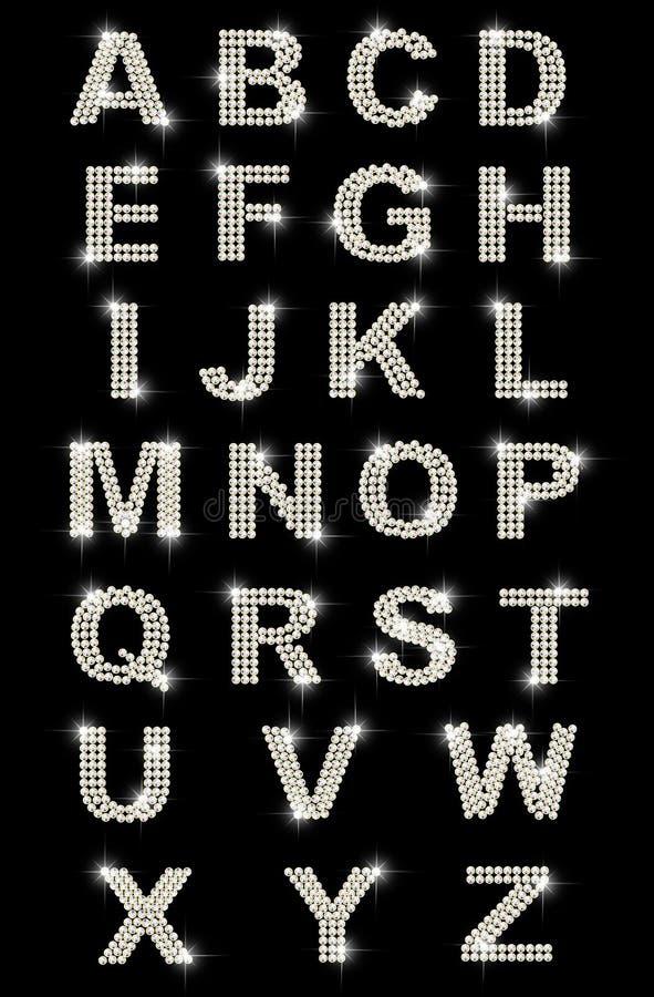 Alfabeto do latino do diamante ilustração stock