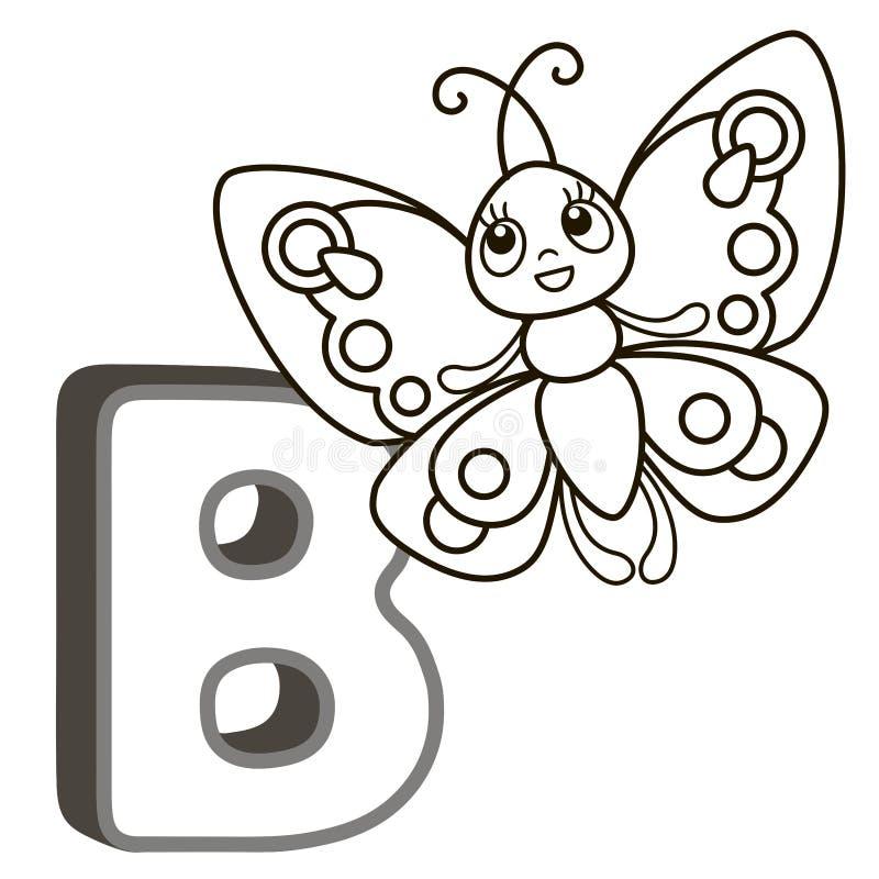 Alfabeto do livro para colorir do vetor com letras principais dos animais e das coisas ingleses e bonitos dos desenhos animados P ilustração royalty free