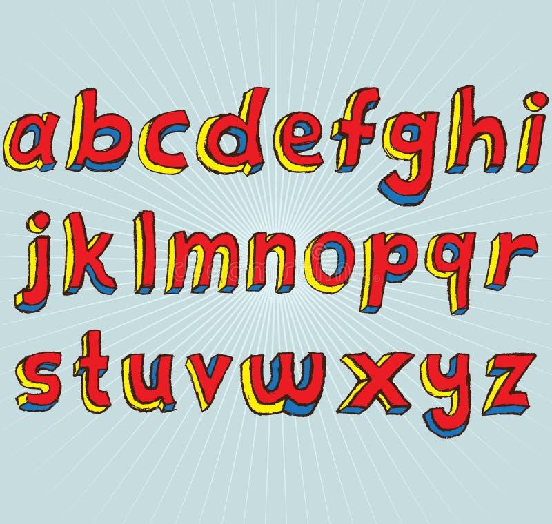 Alfabeto do Lowercase de Grunge 3D ilustração do vetor