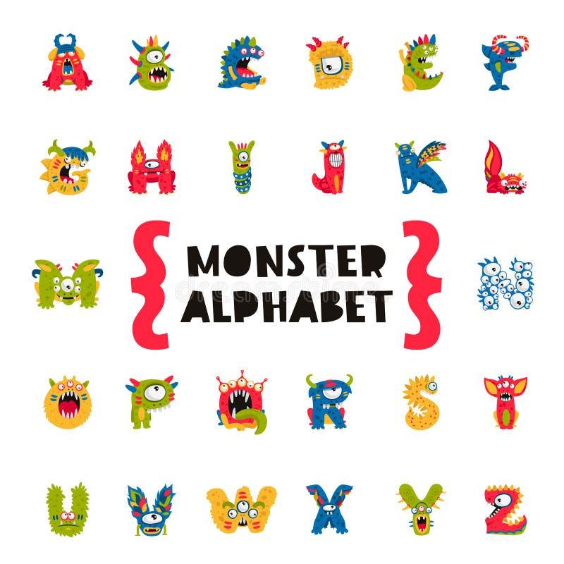 Alfabeto do monstro Conceito da primeira demão ilustração royalty free