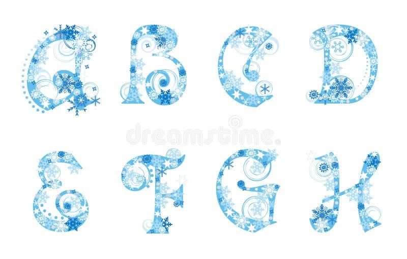 Alfabeto do Natal com flocos de neve ilustração royalty free