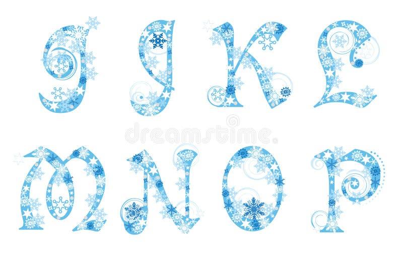Alfabeto do Natal com flocos de neve ilustração do vetor
