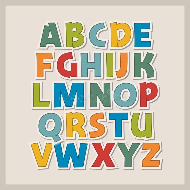 Alfabeto do papel colorido ilustração stock