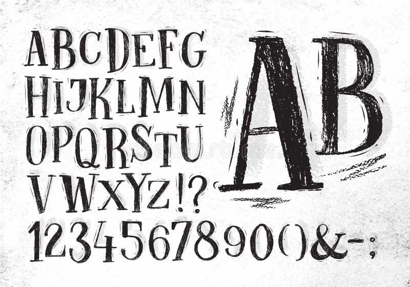 Alfabeto do preto da fonte do lápis ilustração stock