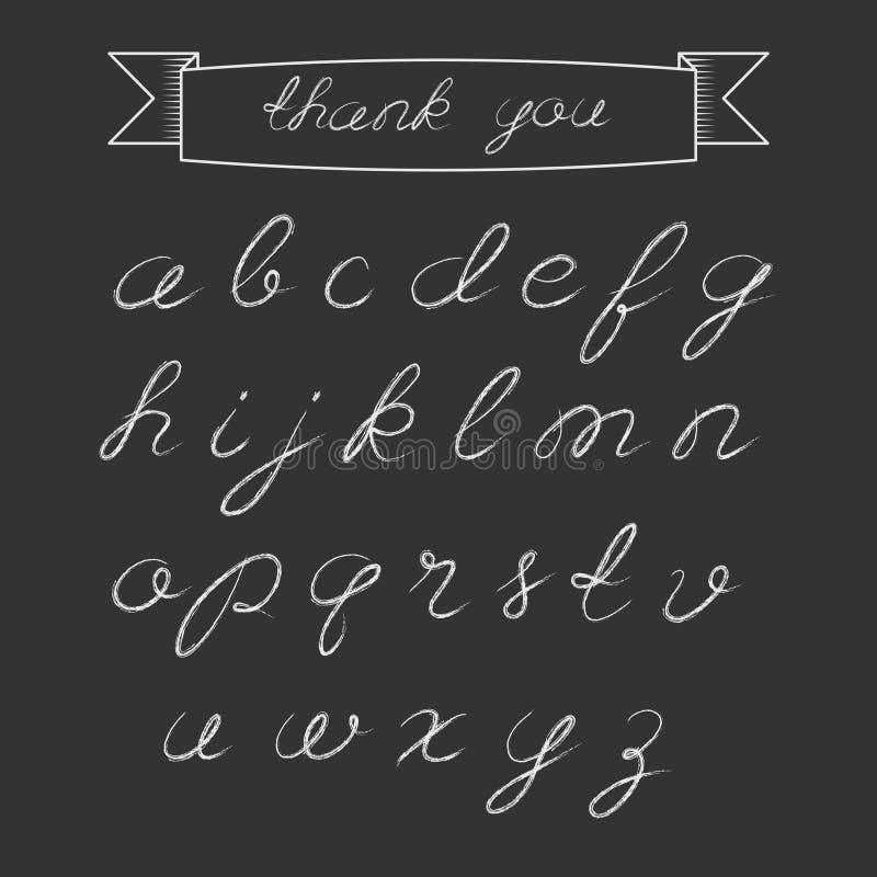 Alfabeto do roteiro do giz ilustração stock