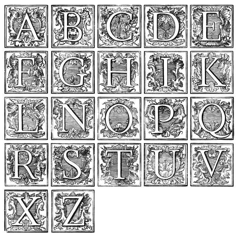 Alfabeto do século XVI ilustração stock