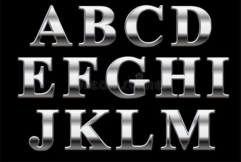 Alfabeto do Serif do cromo fotos de stock royalty free