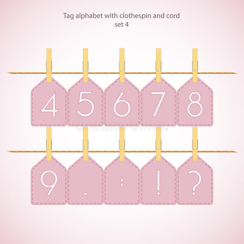 Alfabeto do Tag com clothespin e cabo ilustração stock