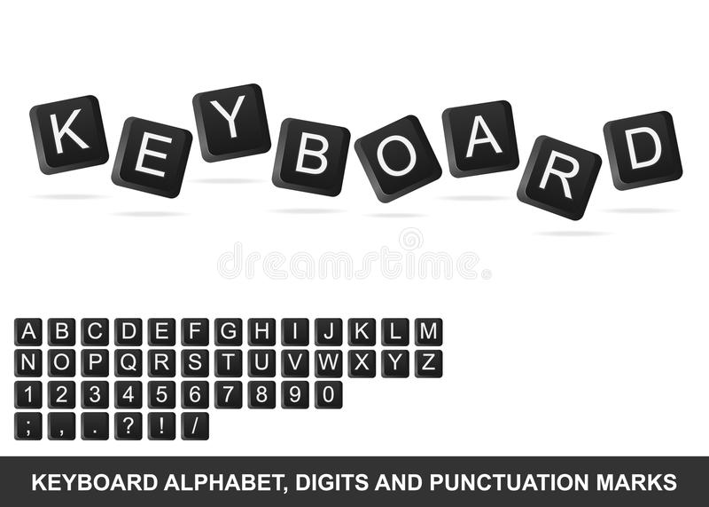 Alfabeto do teclado, dígitos e marcas de pontuação ilustração royalty free