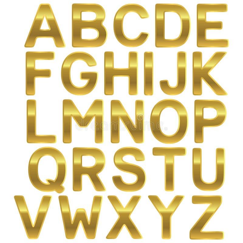 Alfabeto do Uppercase do ouro da fonte ilustração royalty free
