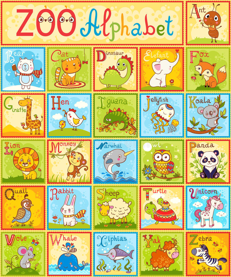 Alfabeto do vetor com animais ilustração do vetor