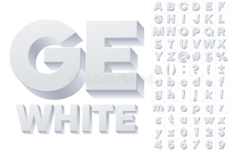 Alfabeto do vetor das letras 3d simples ilustração royalty free