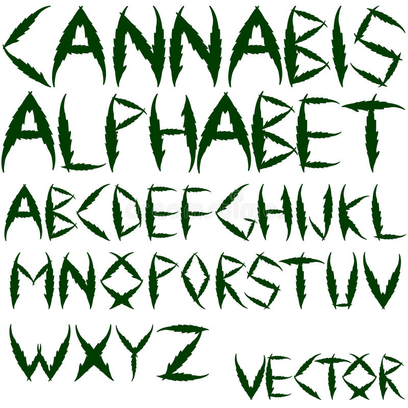 Alfabeto do vetor do cannabis ilustração royalty free